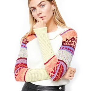 FREE PEOPLE Prism Mock Neck Ribbed Sweater Top